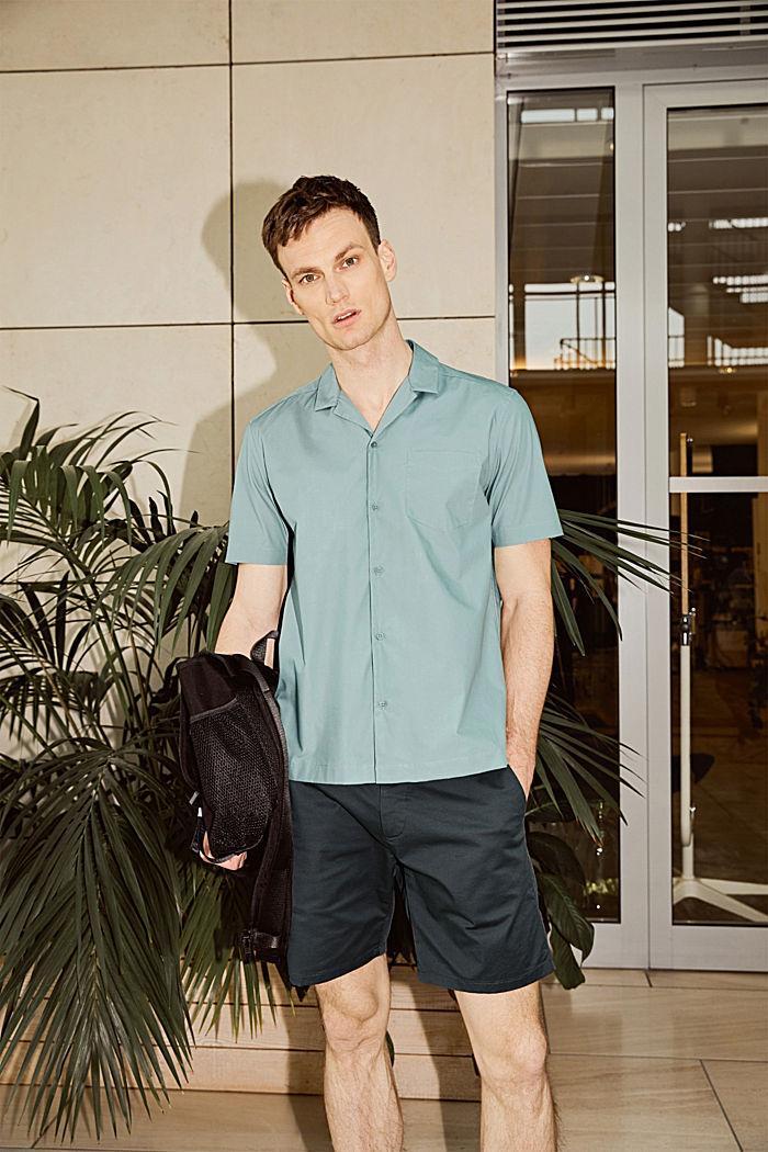 Camisa de manga corta en 100% algodón Pima, DUSTY GREEN, detail image number 5