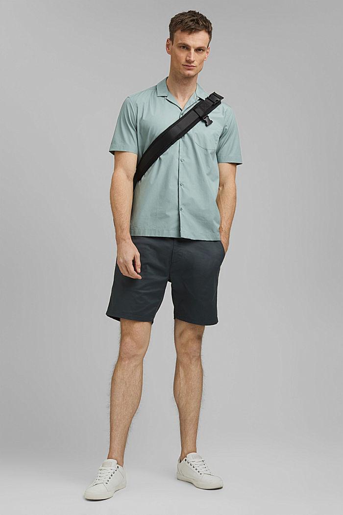 Camisa de manga corta en 100% algodón Pima, DUSTY GREEN, detail image number 1