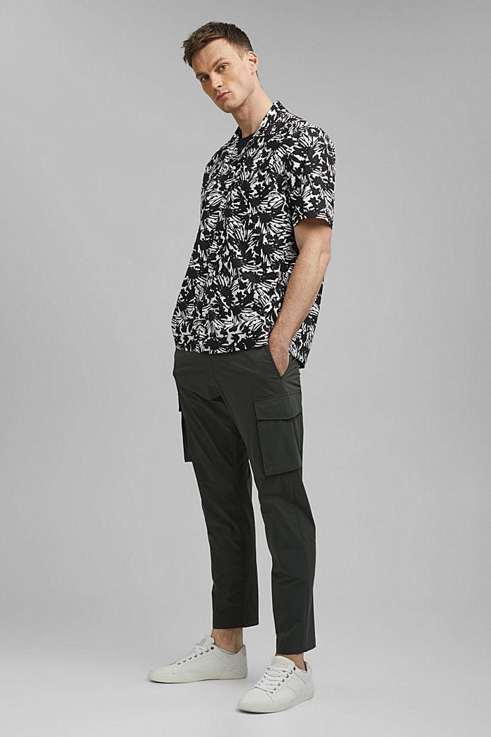 Chemise à manches courtes et imprimé 100% coton pima, ANTHRACITE, detail image number 1