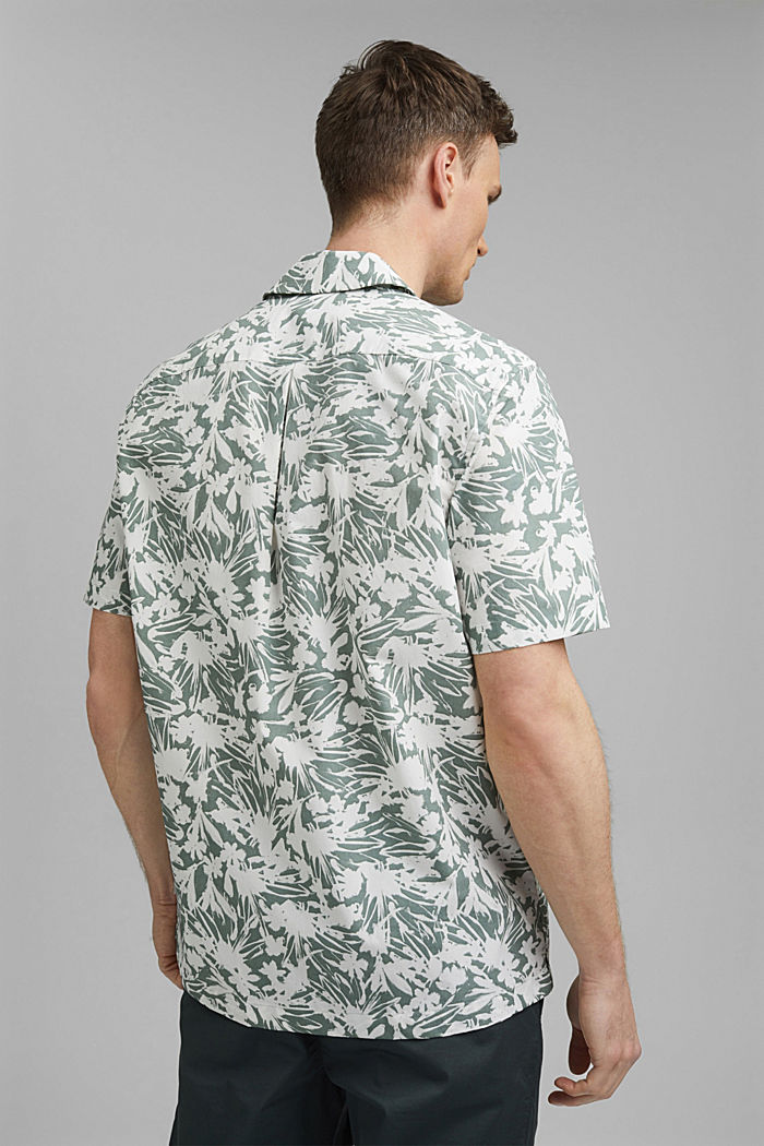 Kurzarm-Hemd mit Print, 100% Pima Baumwolle, DUSTY GREEN, detail image number 3