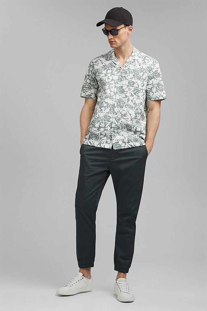 Kurzarm-Hemd mit Print, 100% Pima Baumwolle, DUSTY GREEN, detail image number 1