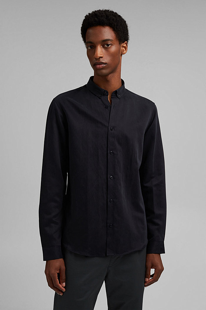 With linen: button-down shirt, BLACK, detail image number 0