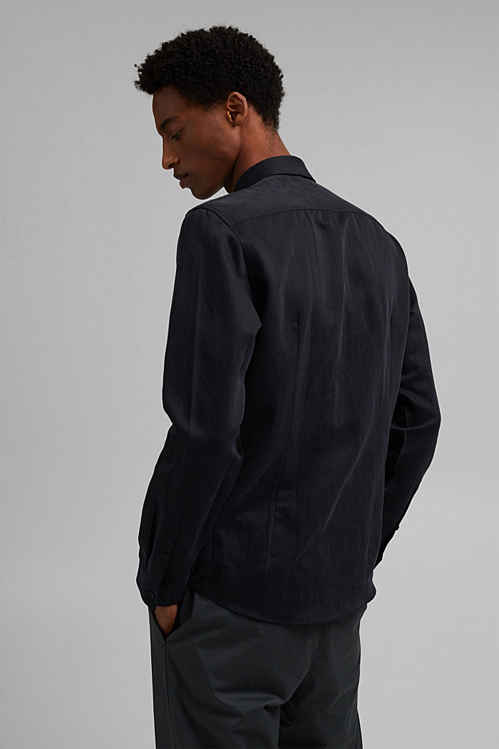 With linen: button-down shirt, BLACK, detail image number 3