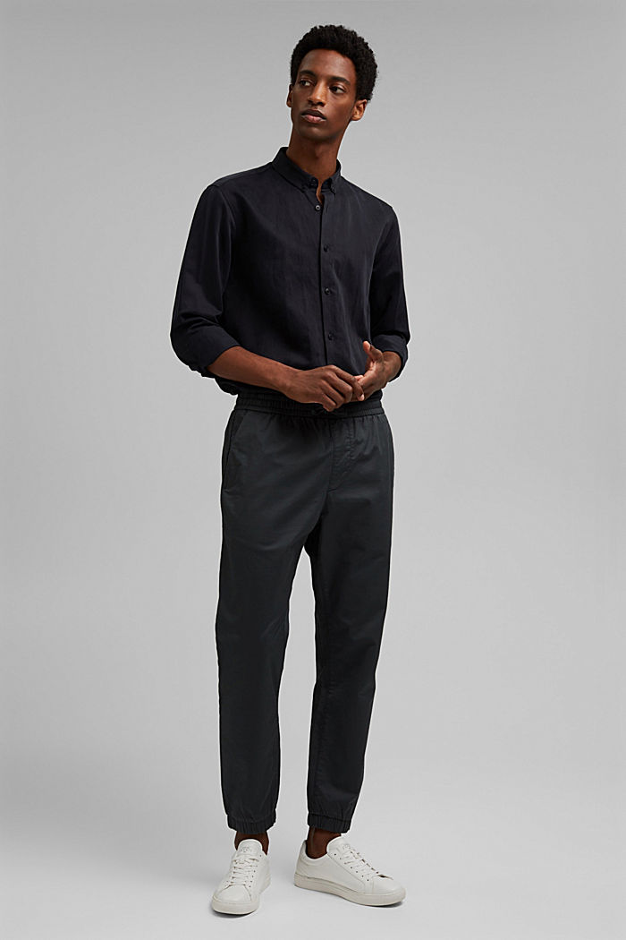 With linen: button-down shirt, BLACK, detail image number 1