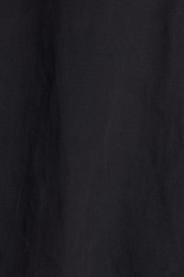 With linen: button-down shirt, BLACK, detail image number 4