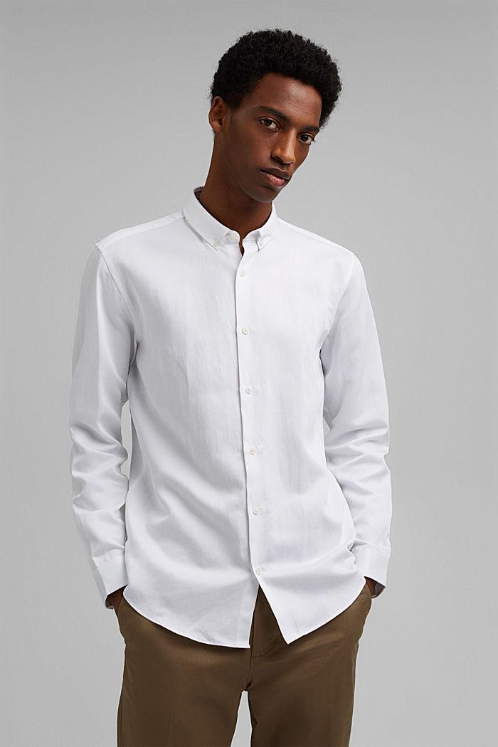 Con lino: camisa con cuello abotonado, WHITE, detail image number 0