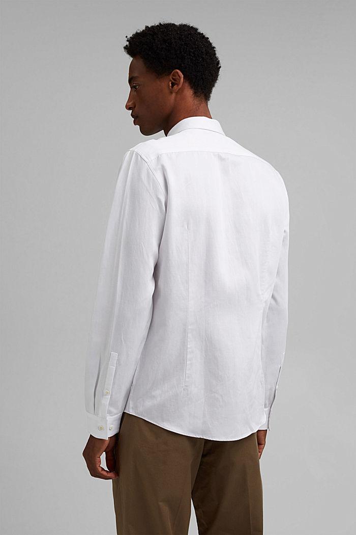 Con lino: camisa con cuello abotonado, WHITE, detail image number 3