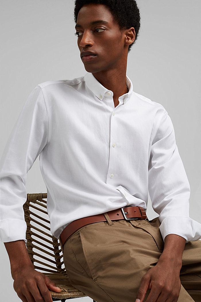 Con lino: camisa con cuello abotonado, WHITE, detail image number 5