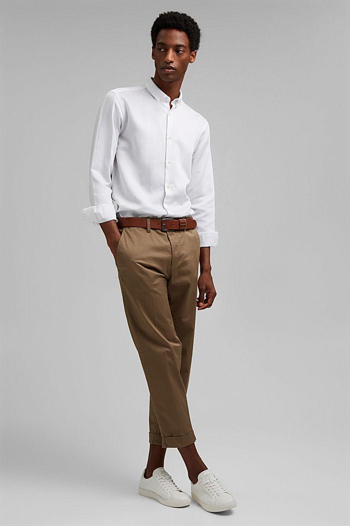 Con lino: camisa con cuello abotonado, WHITE, detail image number 1