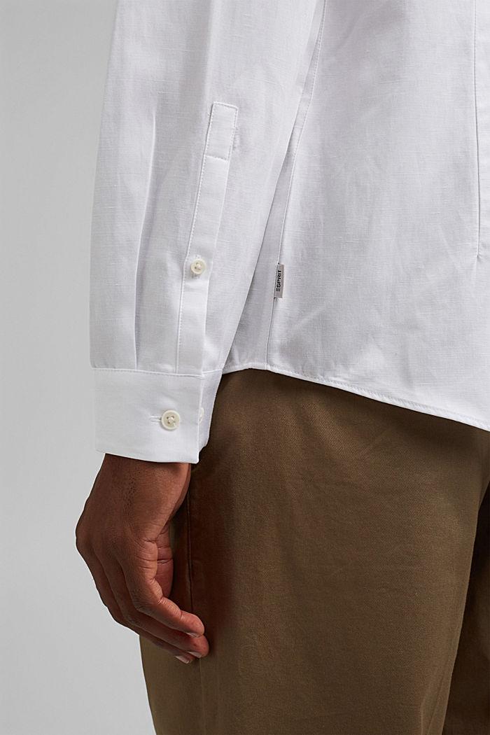 Con lino: camisa con cuello abotonado, WHITE, detail image number 2