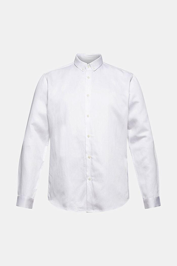 Con lino: camisa con cuello abotonado, WHITE, detail image number 7