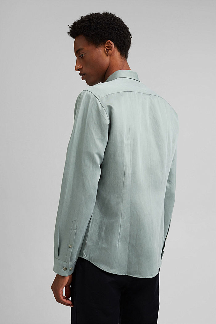 With linen: button-down shirt, DUSTY GREEN, detail image number 3