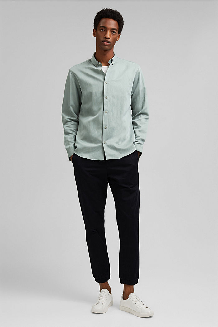With linen: button-down shirt, DUSTY GREEN, detail image number 1