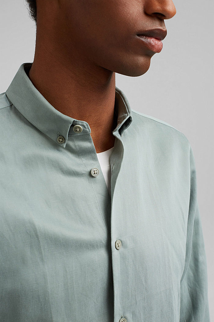 With linen: button-down shirt, DUSTY GREEN, detail image number 2