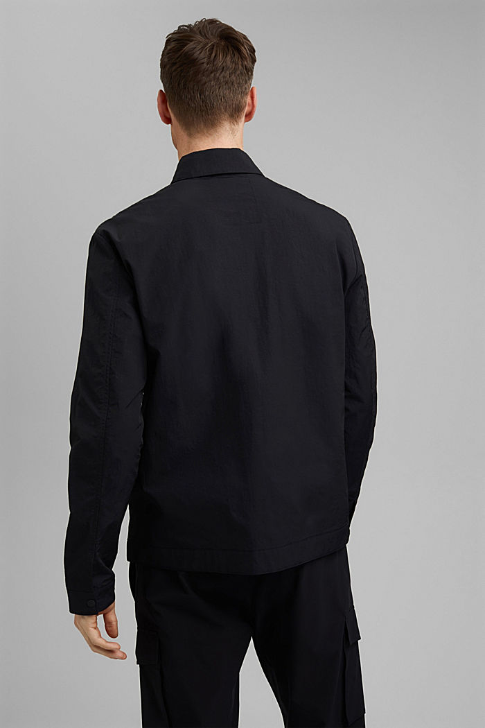 Water-resistant overshirt made of recycled material, BLACK, detail image number 3