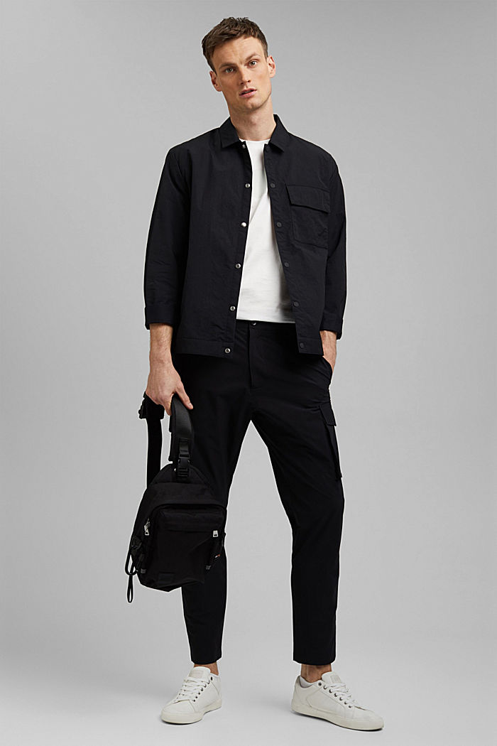 Water-resistant overshirt made of recycled material, BLACK, detail image number 1