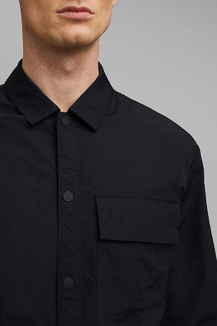 Water-resistant overshirt made of recycled material, BLACK, detail image number 2