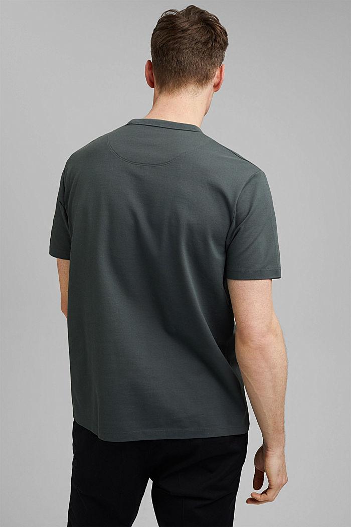 Hoogwaardig piqué T-shirt, 100% biologisch katoen, DARK TEAL GREEN, detail image number 3