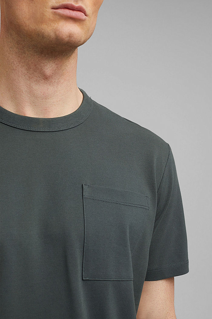 Hoogwaardig piqué T-shirt, 100% biologisch katoen, DARK TEAL GREEN, detail image number 1