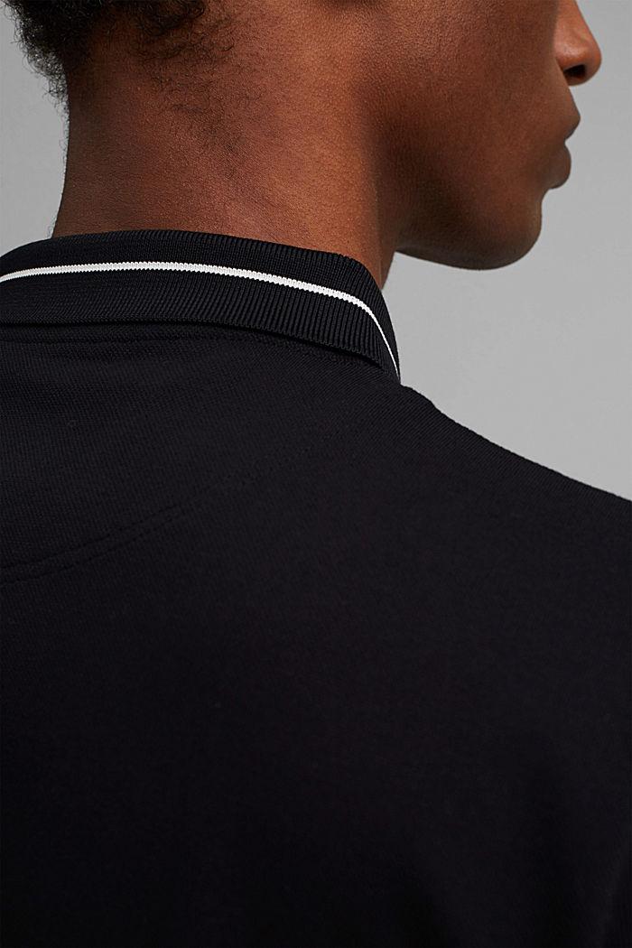 Piqué polo shirt in 100% organic cotton, BLACK, detail image number 1