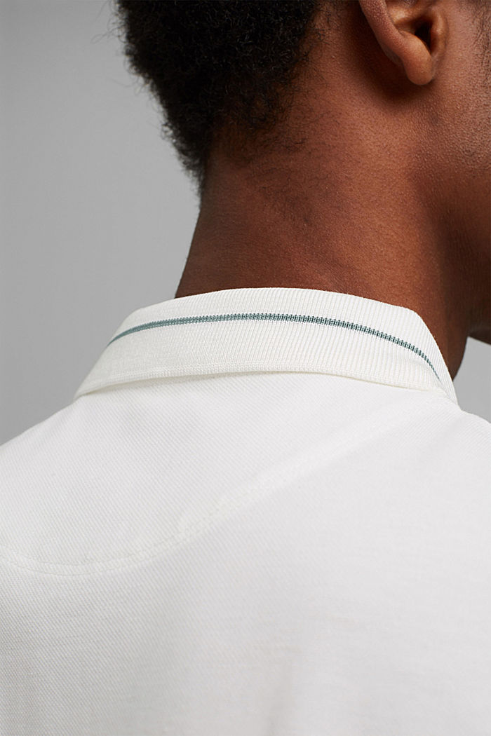 Koszulka polo z piki, 100% bawełny ekologicznej, OFF WHITE, detail image number 1