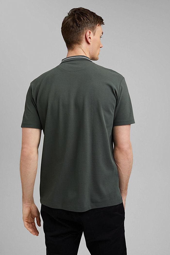 Polo de piqué en 100% algodón ecológico, DARK TEAL GREEN, detail image number 3