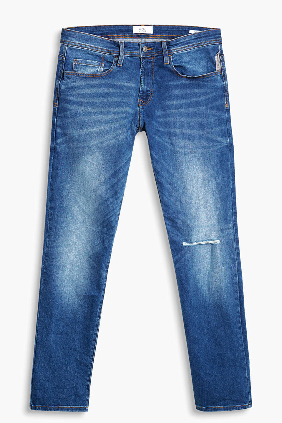 Met authentieke garment-washed effecten: jeans in 5-pocket-look