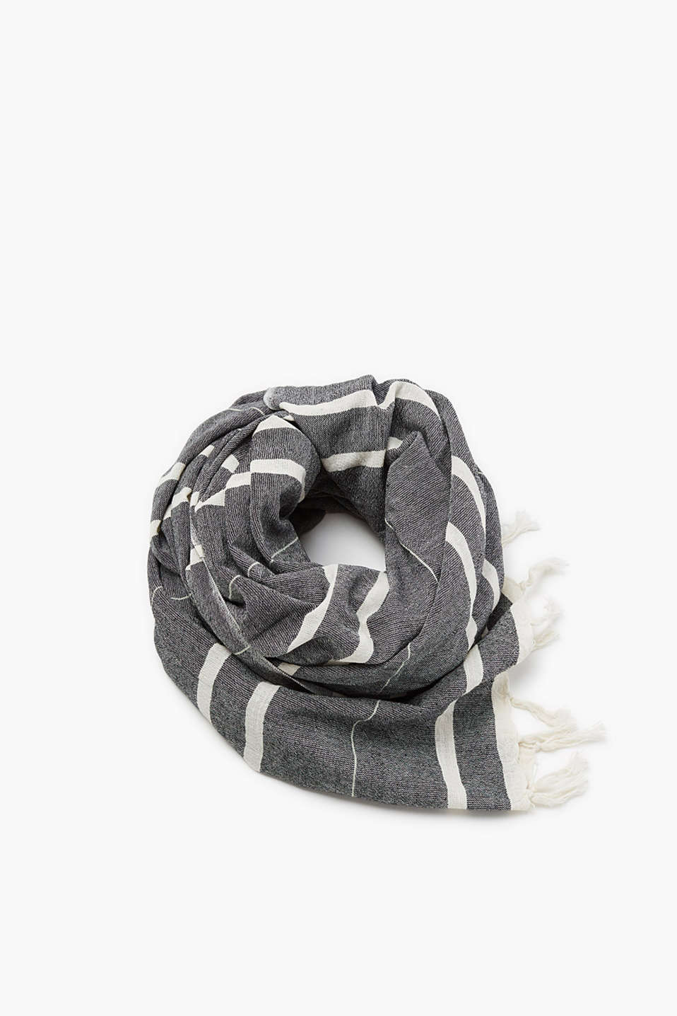 Esprit - Scarf with woven stripes and fringing