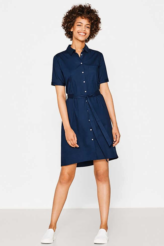 Esprit - Hemdblusen-Kleid aus Baumwolle/Stretch im Online ...