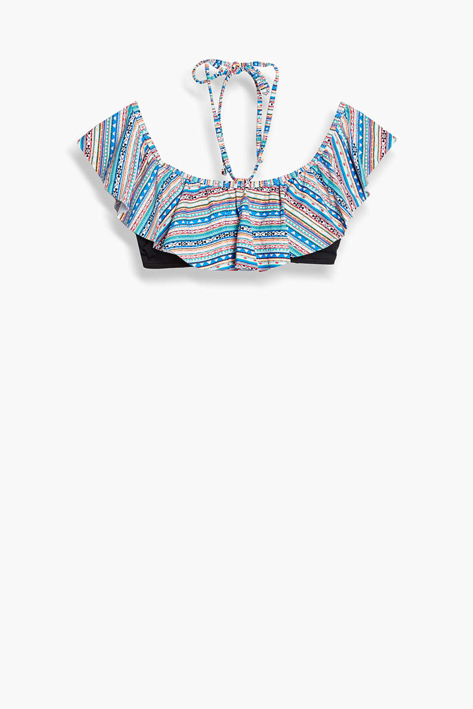 Collection: NAYLOR BEACH - padded bandeau top with a patterned, ethnic-style frill