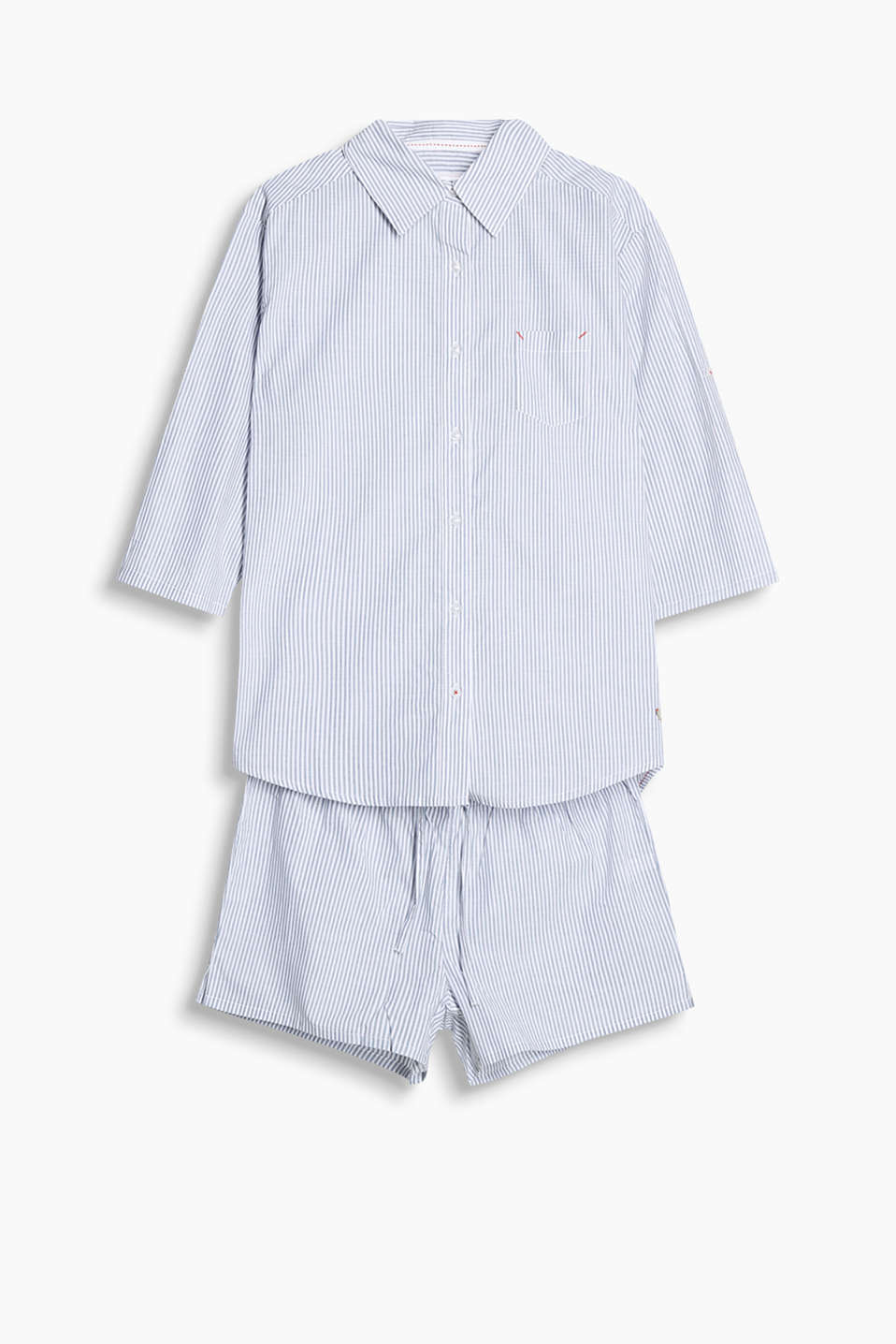 Set comprising a button-fastening pyjama top with turn-up sleeves and shorts with an elasticated waist