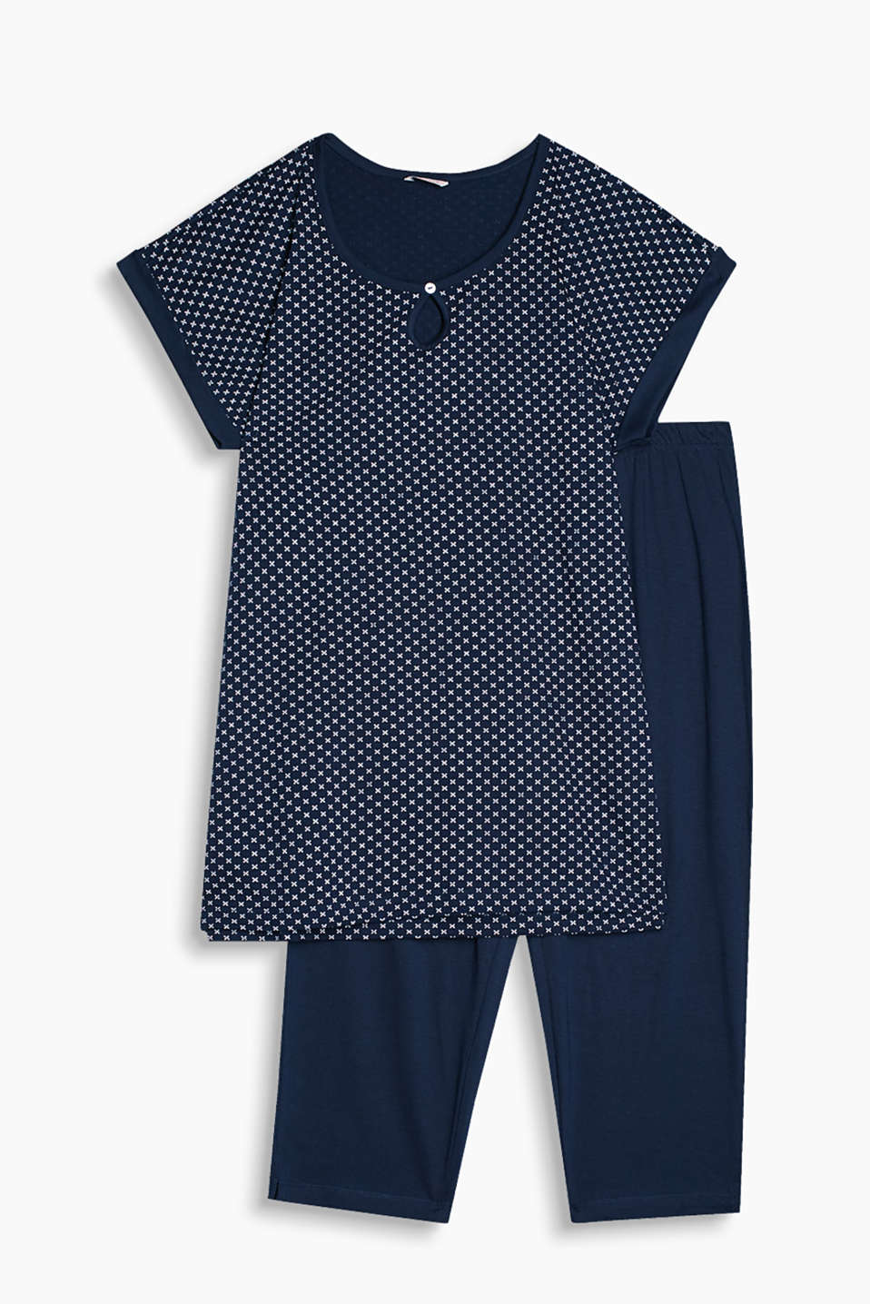 Jersey pyjamas with a casual printed top and plain coloured Capris in pure cotton