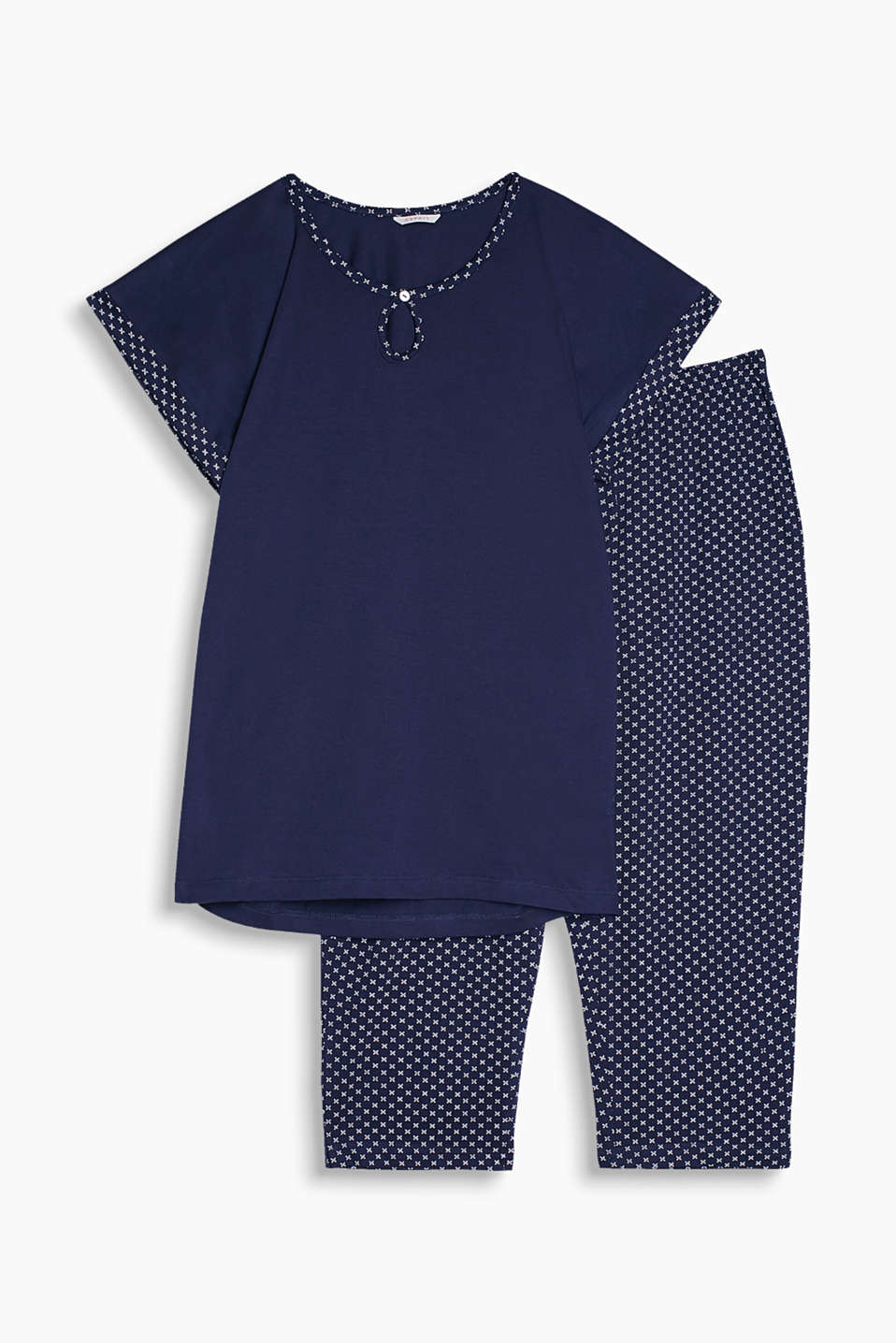 Jersey pyjamas with a casual top and patterned Capris in pure cotton
