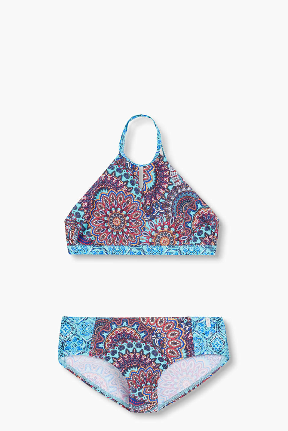 made of quick-drying, blended material with an oriental, ethnic print