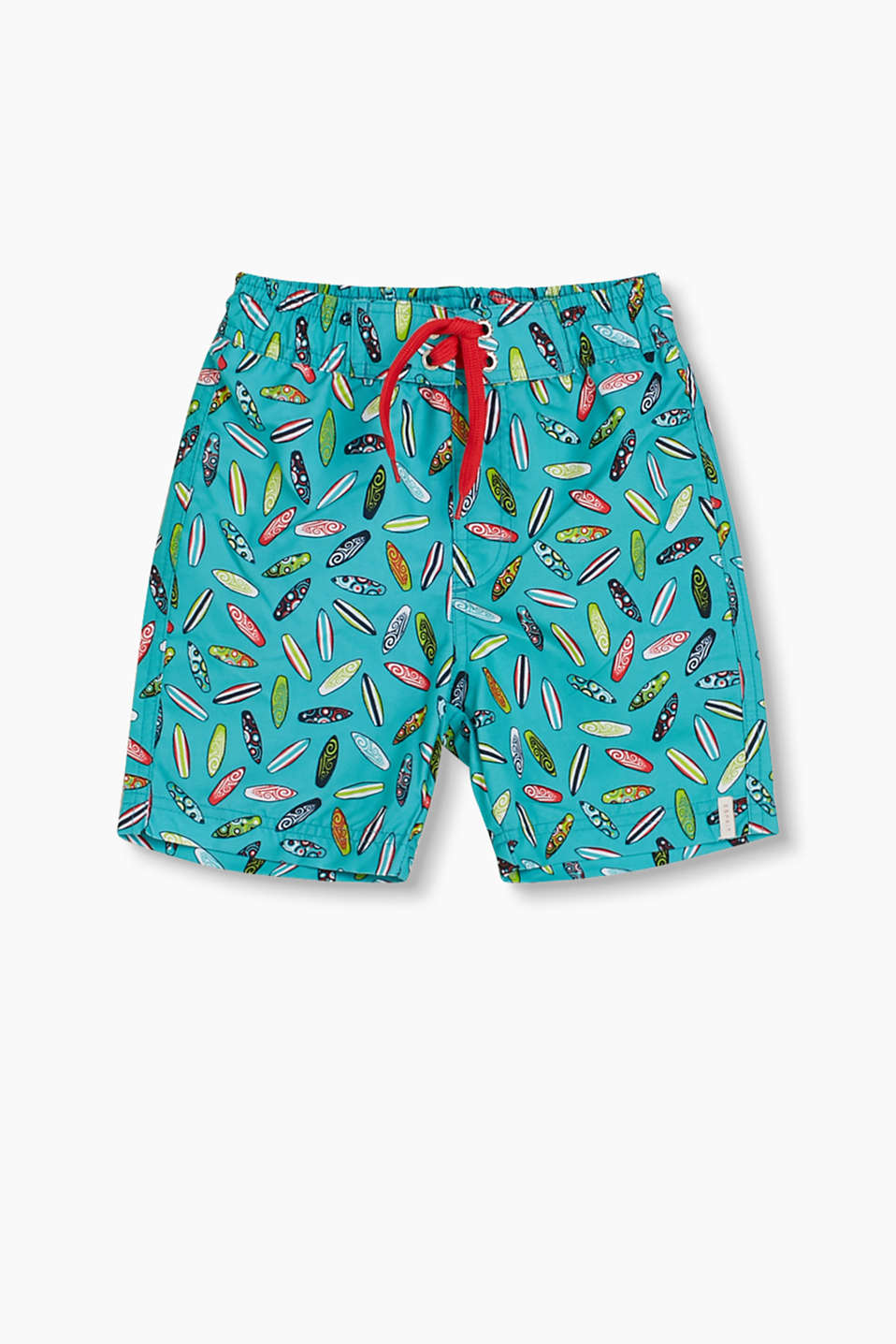 Swim shorts with a surfboard print, inner briefs and an elasticated waistband with drawstrings