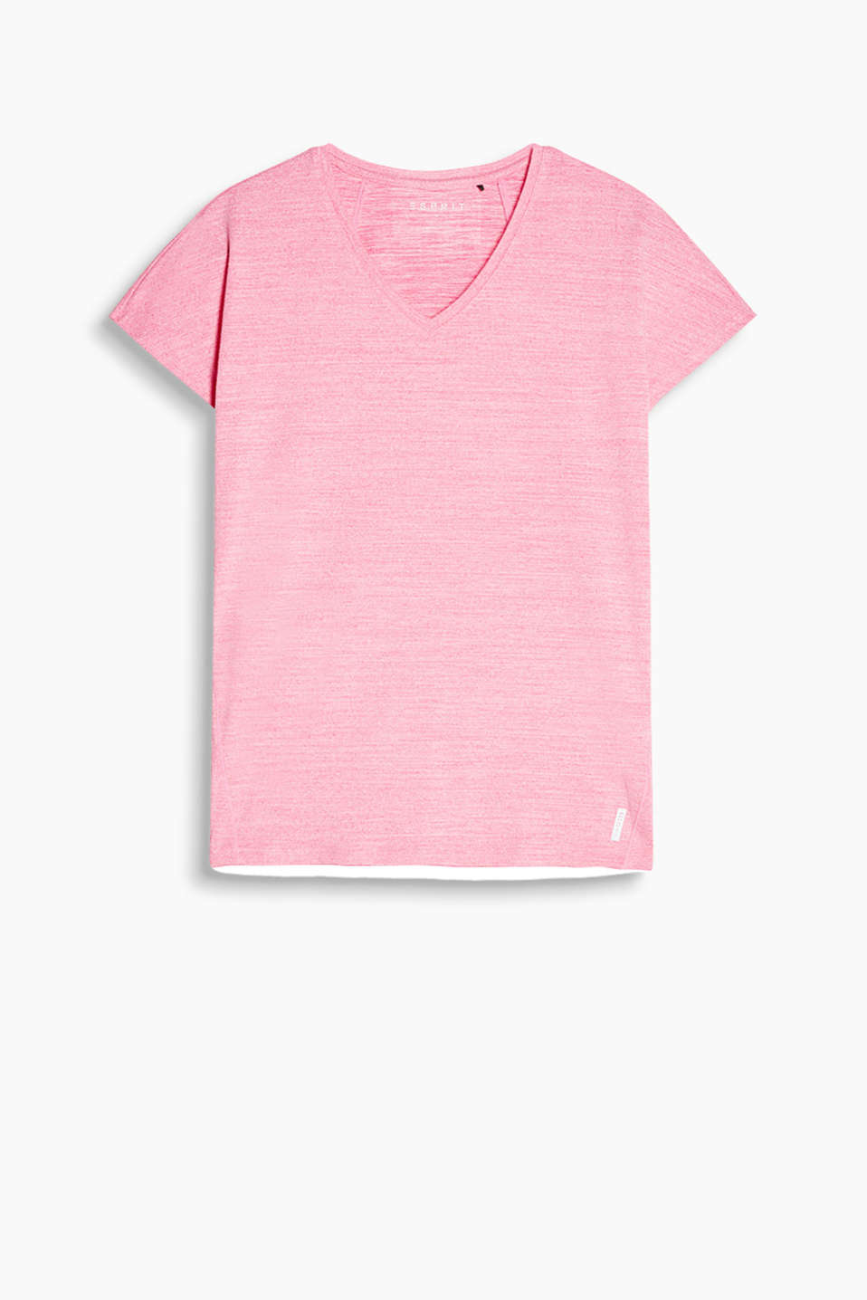Loose V-neck T-shirt with a melange finish, E-DRY