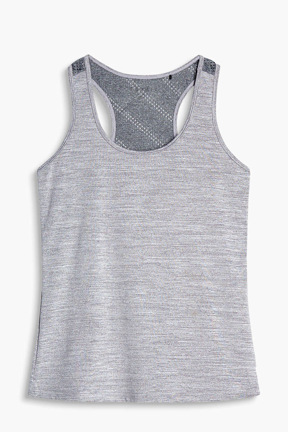 Melange vest with a racer back and perforated pattern, E-DRY