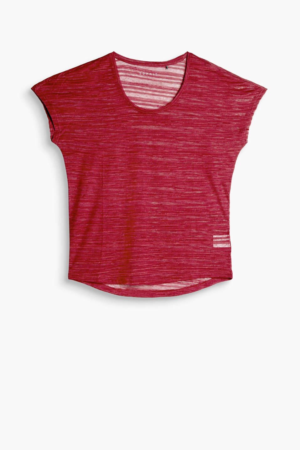 Silky T-shirt with burnt-out effects, E-DRY