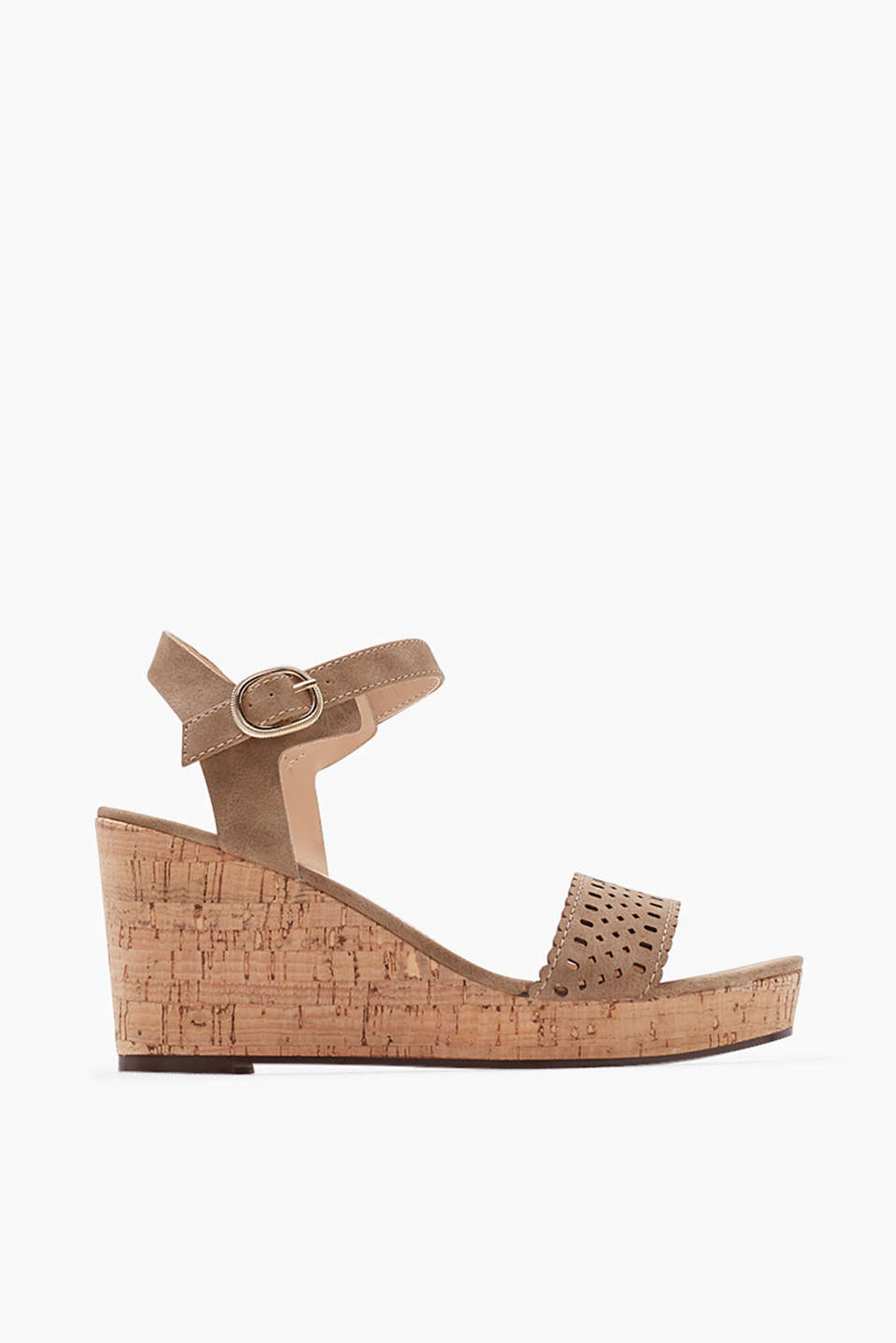 A modern classic: Faux suede sandal with ankle strap and cork heel
