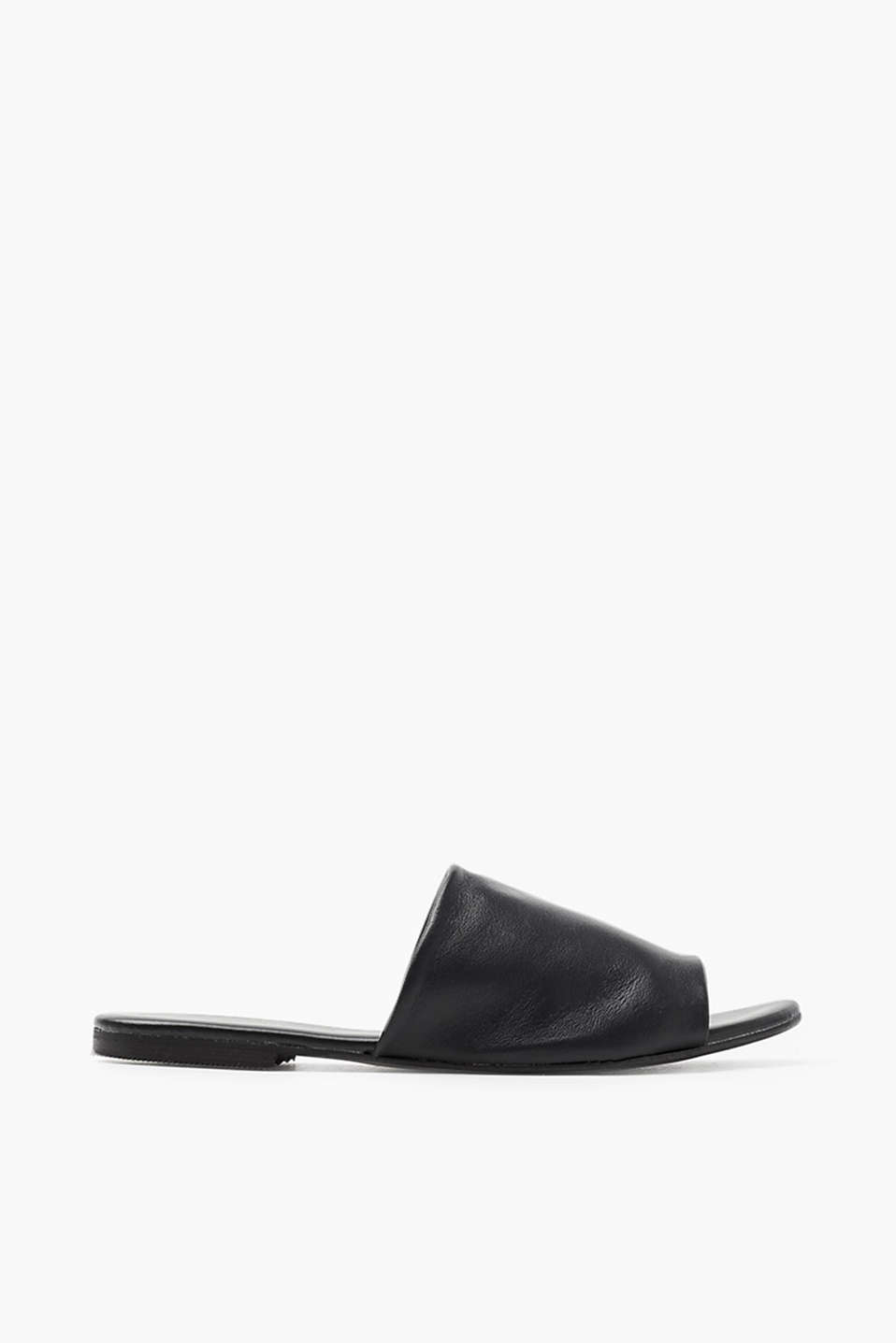Soft nappa leather slip-ons in an open design