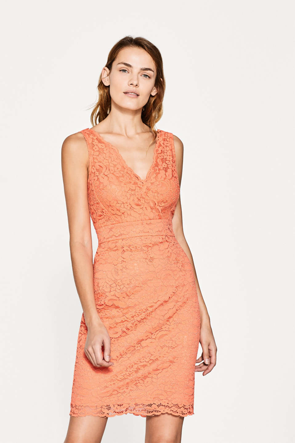 Esprit - Lace dress with a double V-neckline