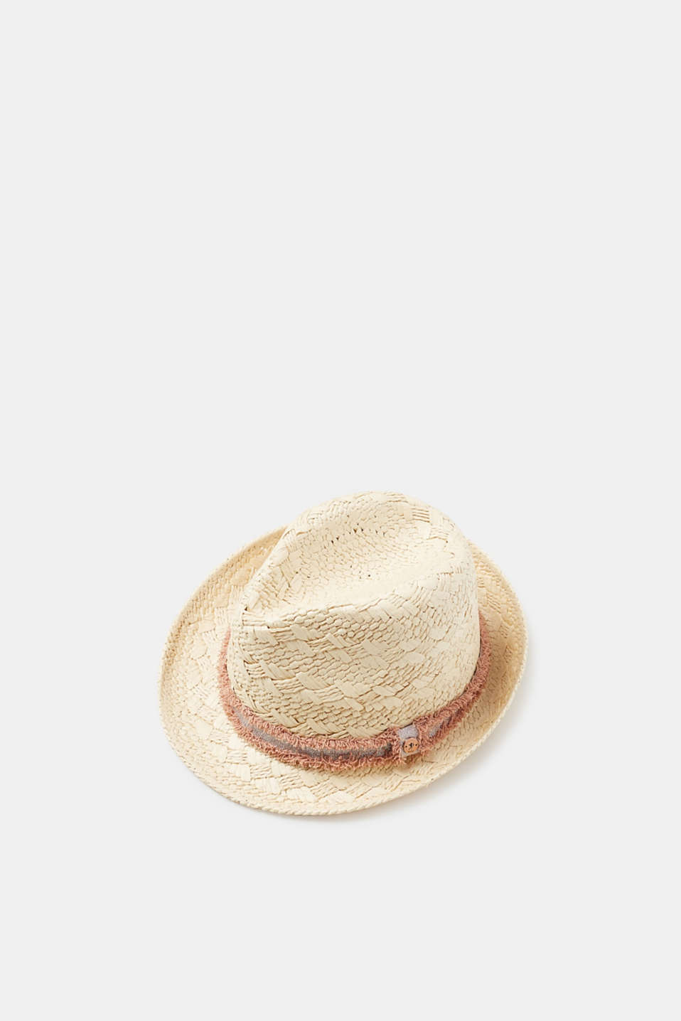 edc - Straw hat with a frayed metallic band