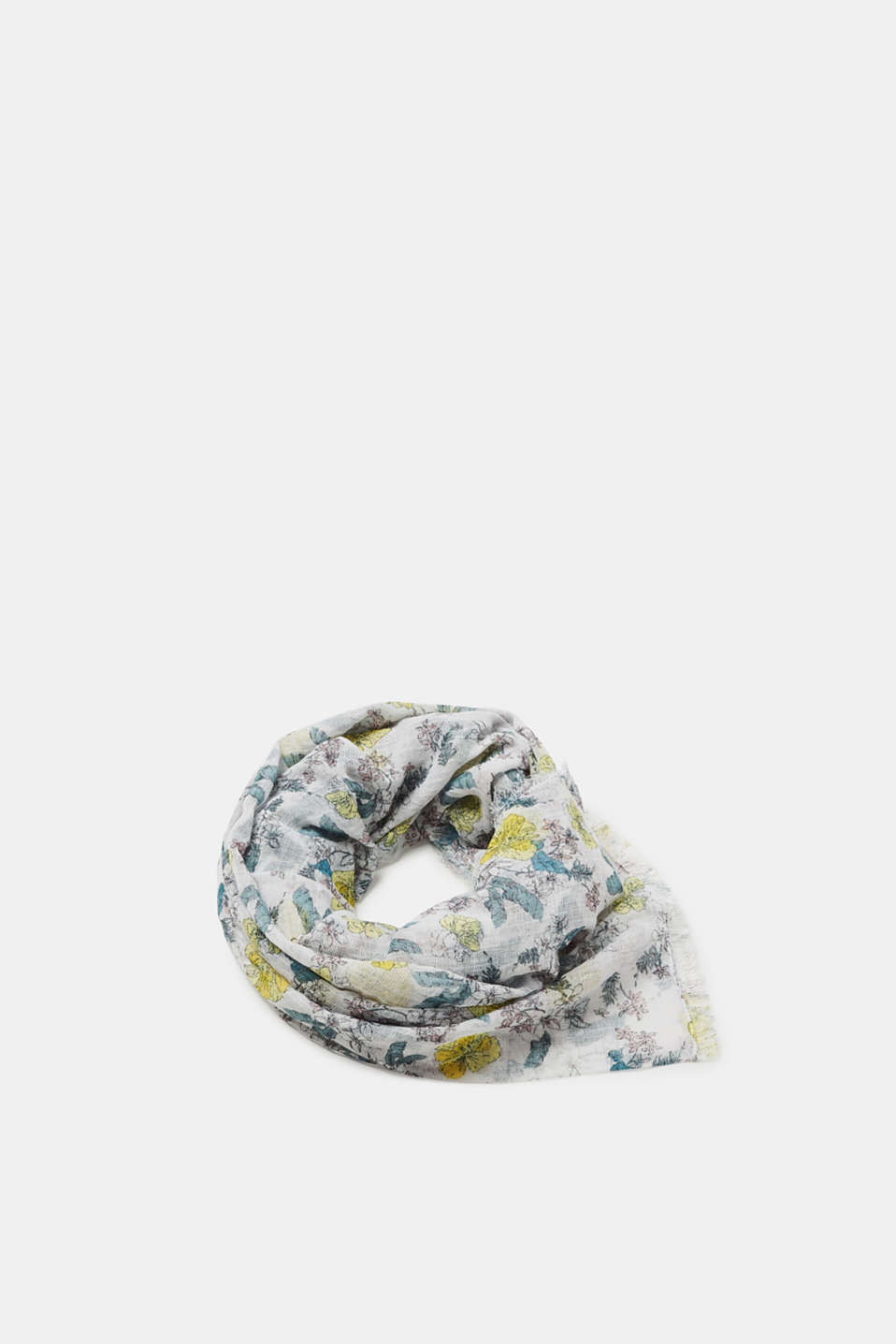 edc - Airy scarf with floral print, in cotton
