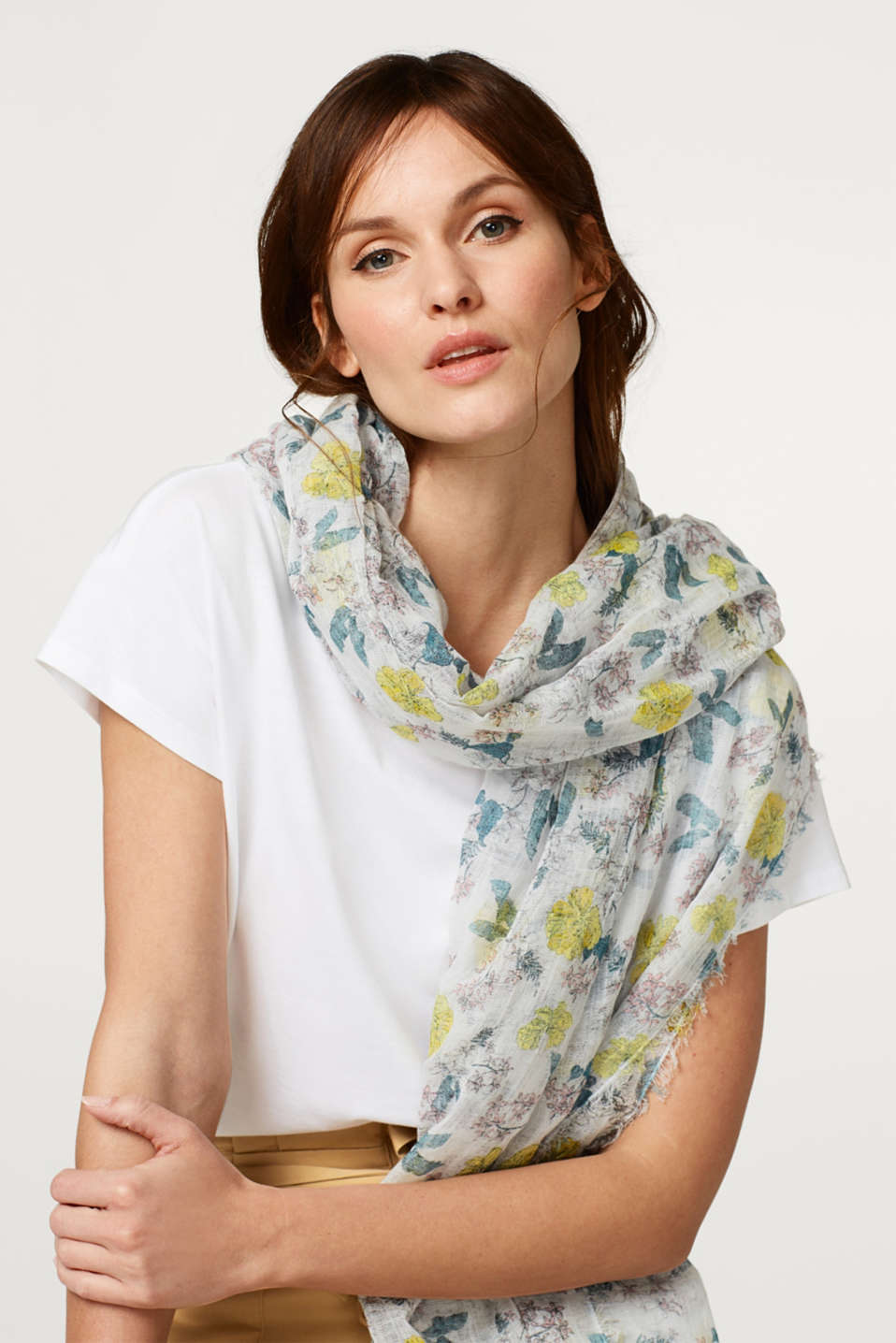 Airy scarf with floral print, in cotton