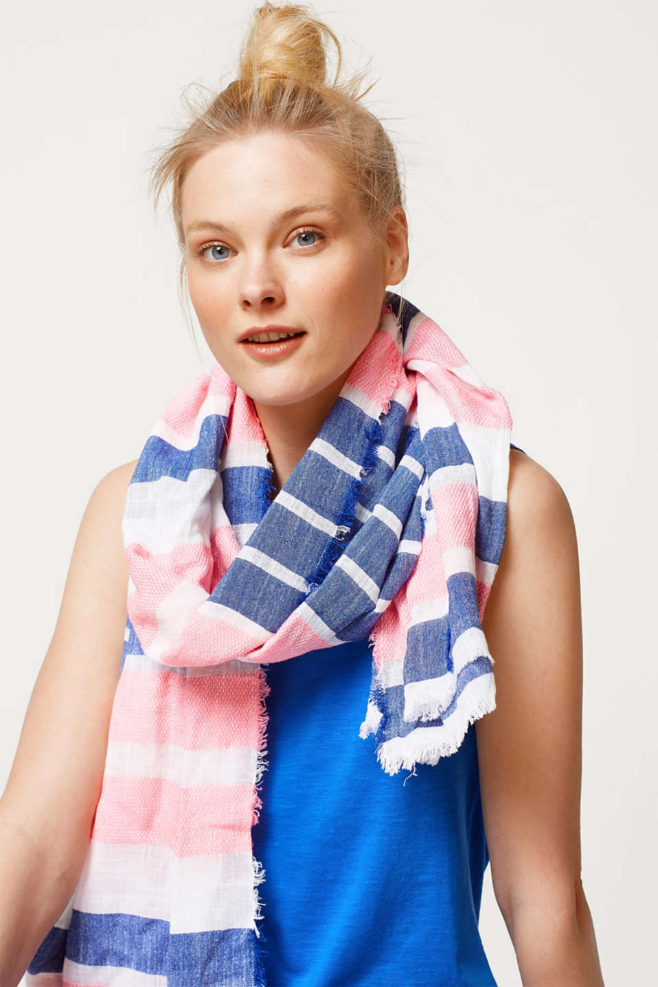 Striped woven scarf in summery bright colours