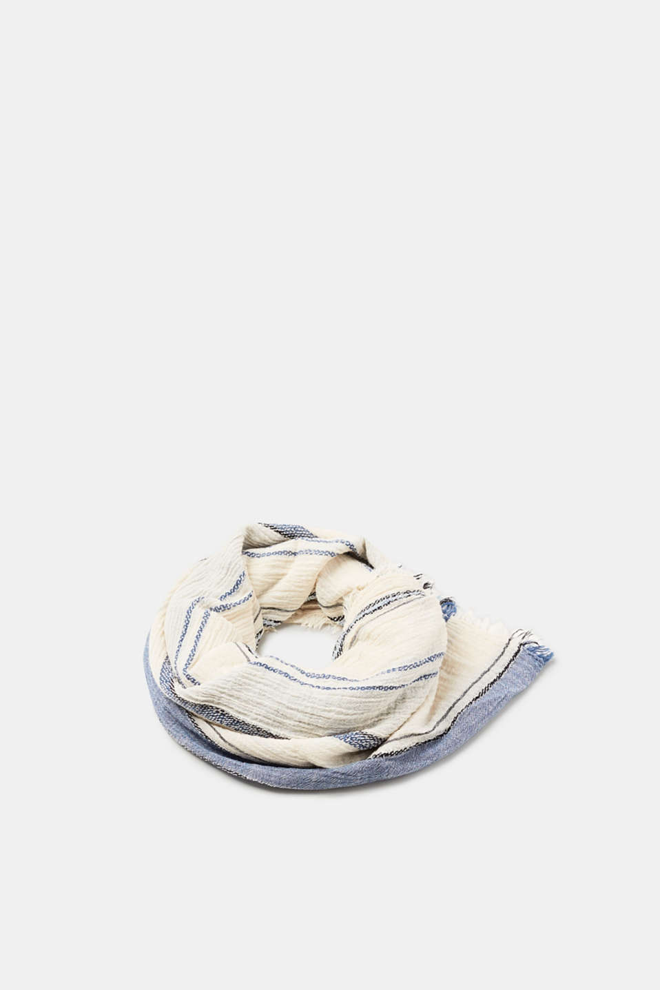 edc - Cotton scarf with textured stripes