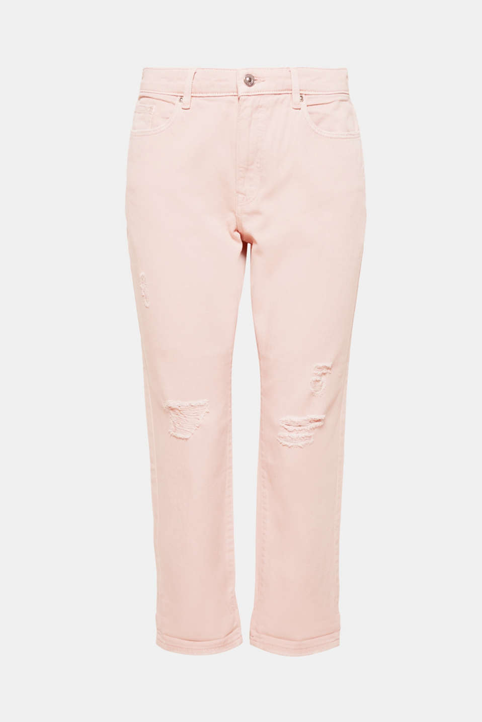 Cool distressed effects and a delicate pastel tone give these girlfriend jeans their trendy summer look.