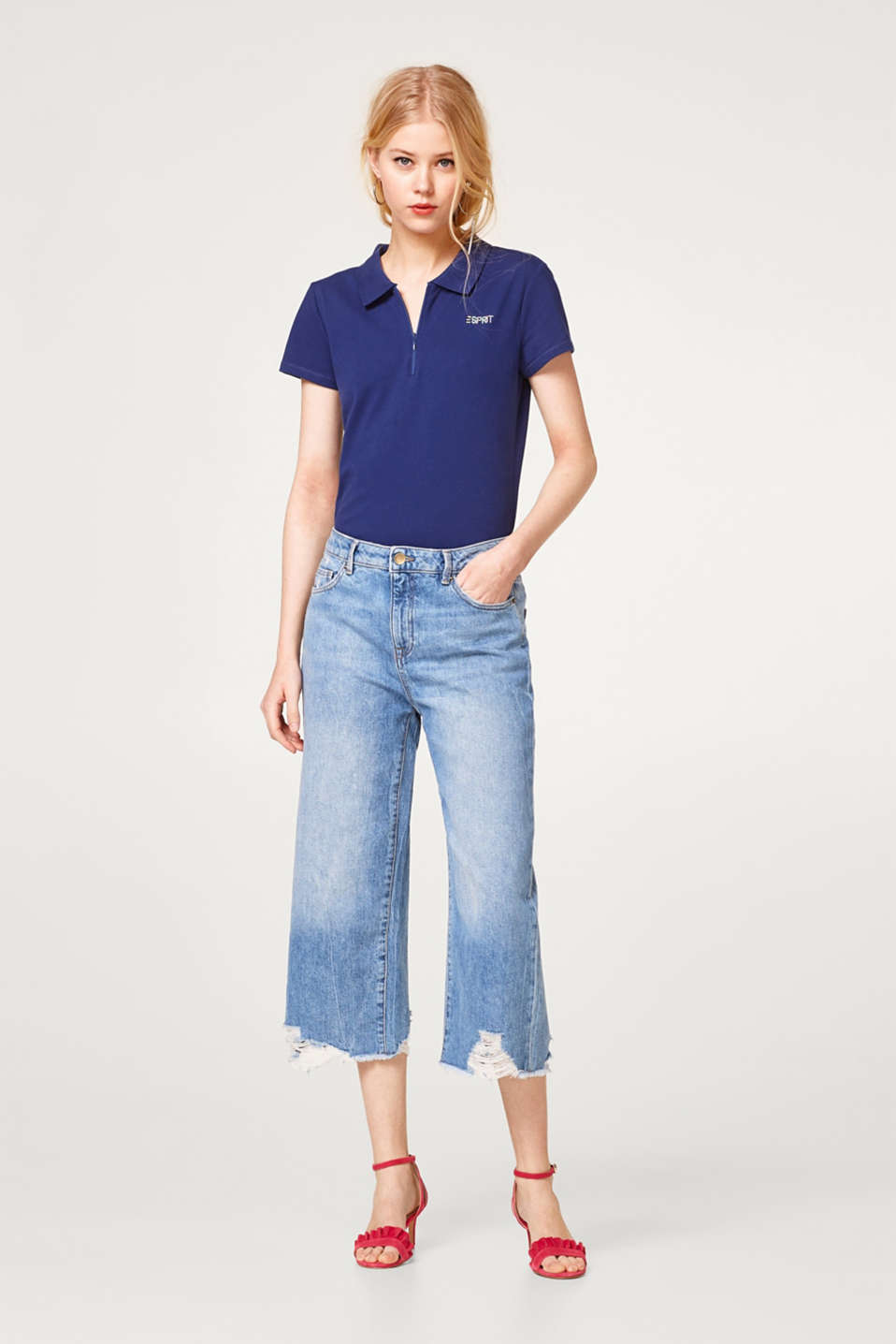 edc - Destroyed culotte jeans in cotton