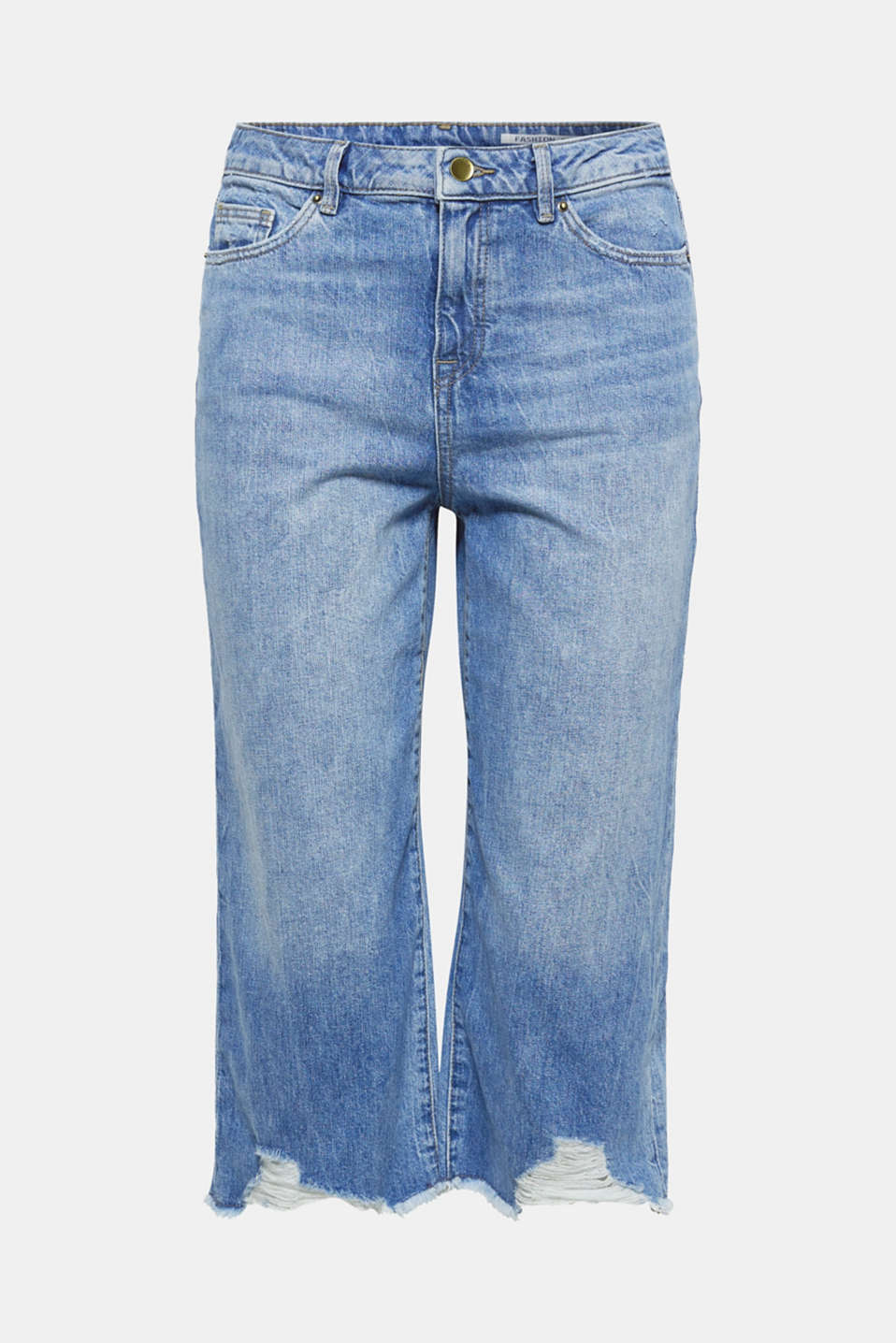 These jeans are a stylish fashion piece in a 7/8 length with a wide leg and super casual frayed hems.