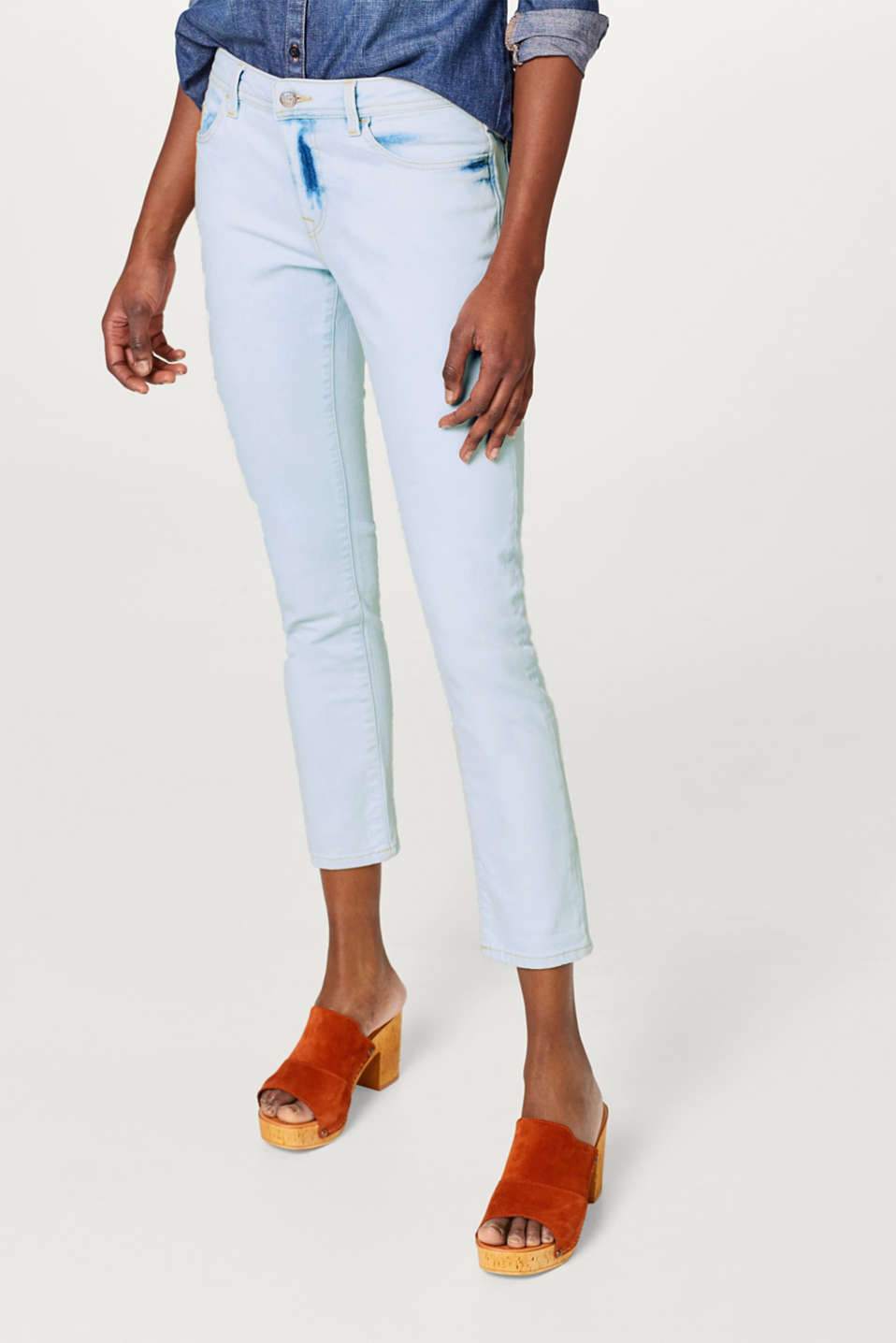edc - Cropped stretchjeans met een acid wash